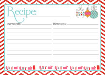 Blank Recipe Card Blue Recipe Card DIY Recipe Card