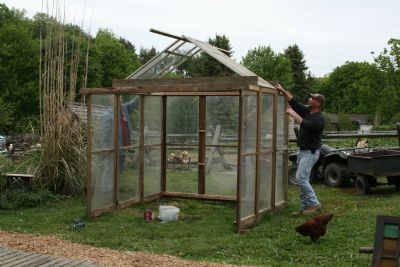 Maryjanesfarm farmgirl connection greenhouse out of old for How to build a greenhouse using old windows