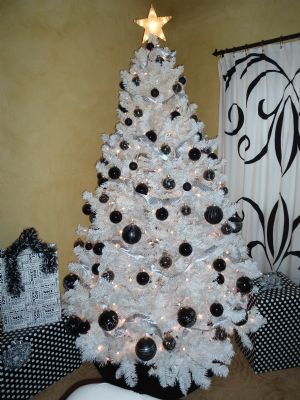 white and black christmas tree decorations photo22