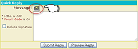 In Quick Reply, the button is next to the word Message in the upper left.