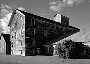 Black and white photo of our historic flour mill