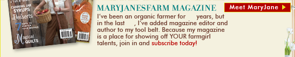 MaryJanesFarm Magazine and 'Meet MaryJane' link